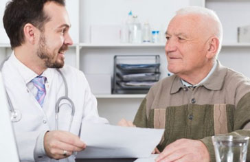 Old man visiting doctor